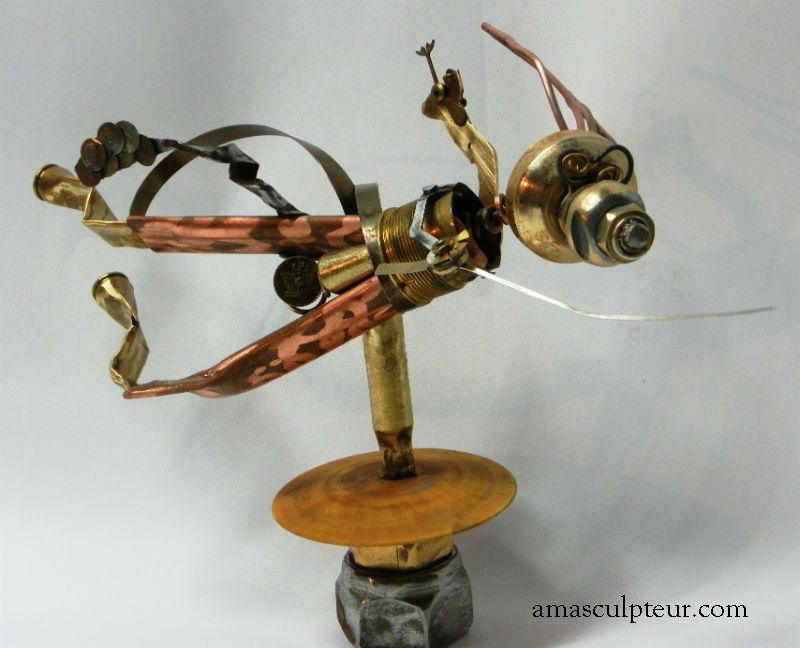 Coyotte - sculpture métal - art singulier - recyclage par Ama sculpteur