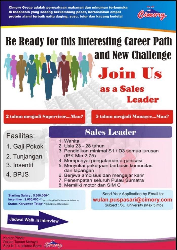 Lowongan Kerja Sales Leader Cimory Group Jakarta Barat