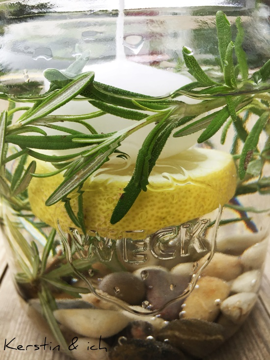 Deko Zitronen Tischdeko Rosmarin Weckglas