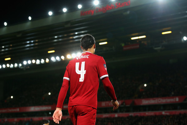 Virgil van Dijk of Liverpool is pictured during The Emirates FA Cup Fourth Round match between Liverpool and West Bromwich Albion at Anfield on January 27, 2018 in Liverpool, England
