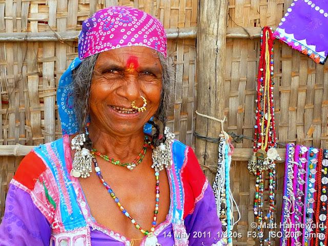 Facing the World, © Matt Hahnewald, street portrait, people, South India, Hinduism, Dravidian people, Karnataka woman, nose jewellery, tribal costume