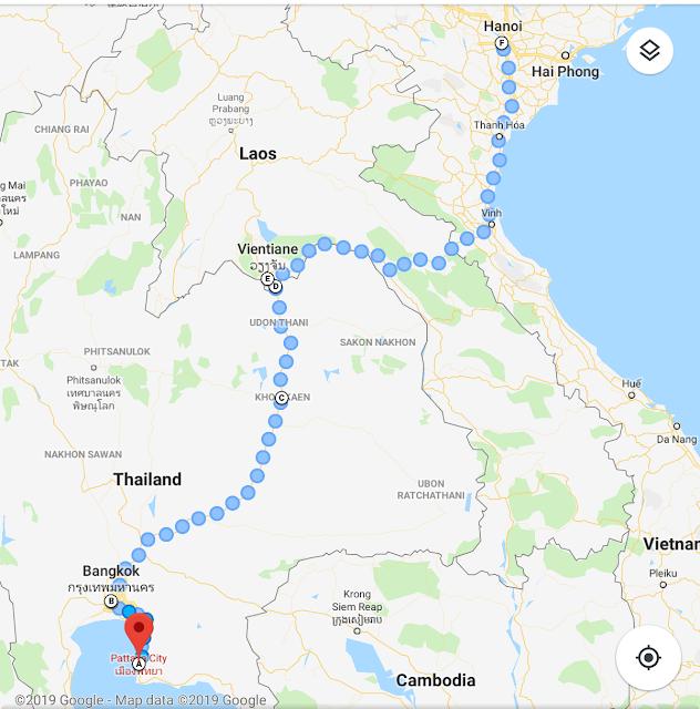 Rute Perjalanan Via Darat Bangkok - Hanoi