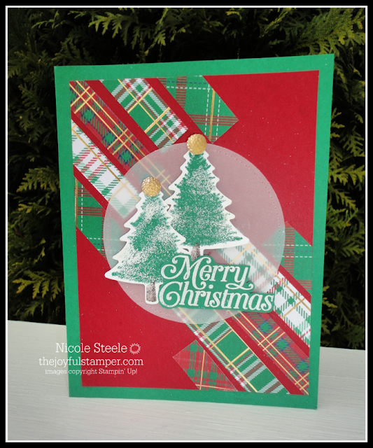 Stampin' Up! Perfectly Plaid Christmas card with Wrapped In Plaid paper scraps and heat embossed snow