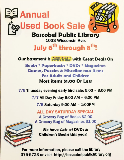 Boscobel Public Library Annual Booksale  July 6th thru 8th