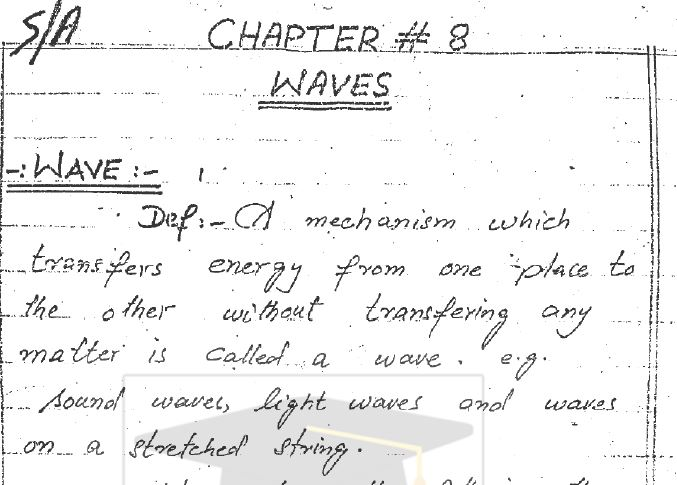 1st Year Physics Chapter 8 Waves Notes pdf - Ratta pk