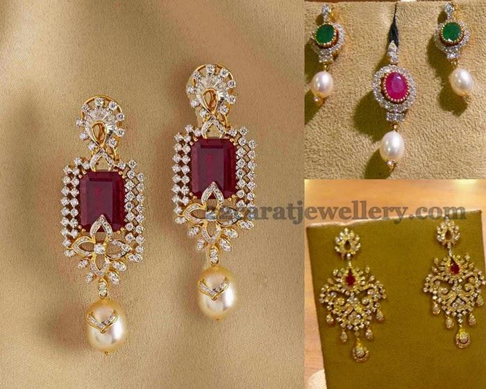 Diamond Earrings From Mehta Jewelry Jewellery Designs