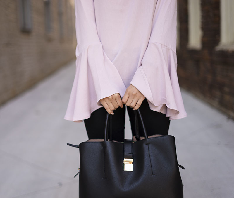 pink ruffled bell sleeves and h&m handbag