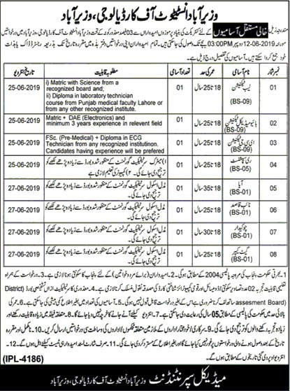 Wazirabad Institute Of Cardiology Jobs 2019 Latest