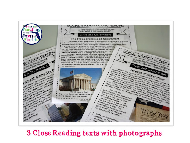 Three close reading texts with ELA and Social Studies question stems.