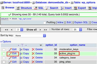Cara Menonaktifkan Semua Plugin Wordpress melalui phpMyAdmin
