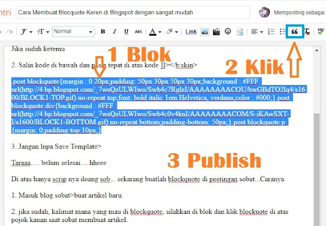membuat blockquote di blogger