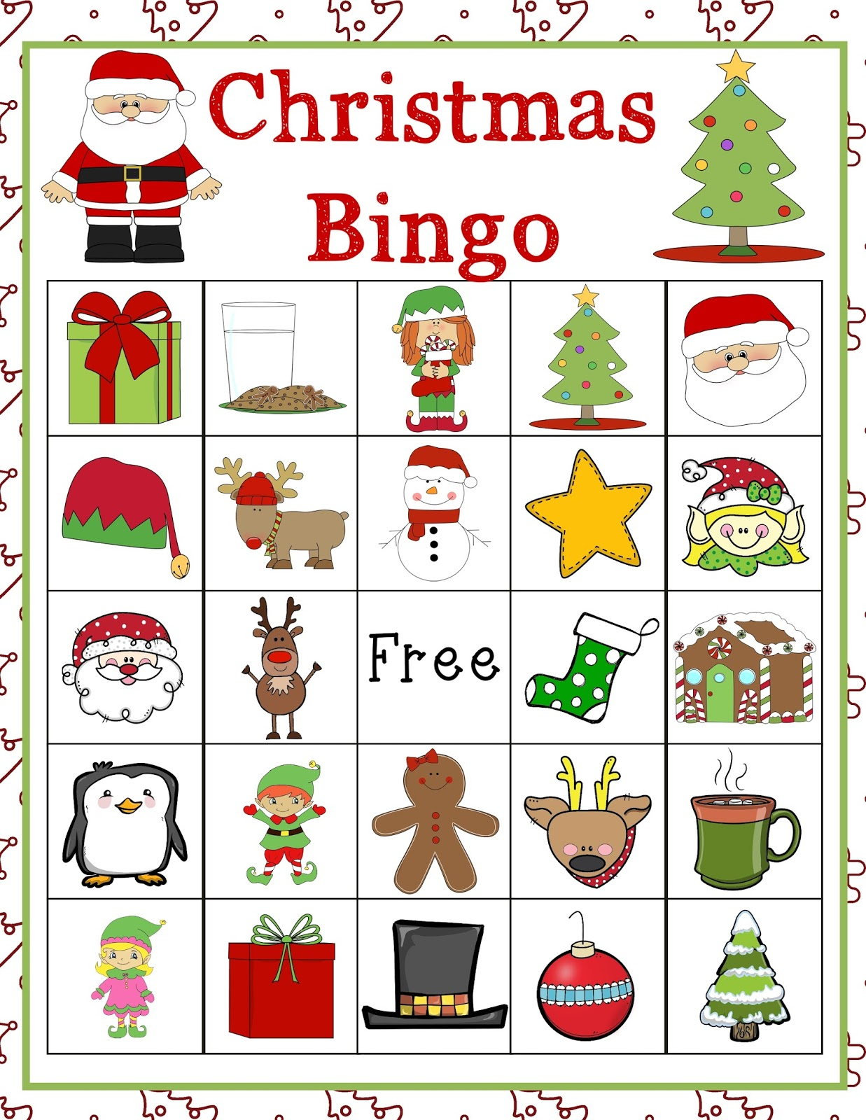 Peaceful image throughout printable christmas bingo cards