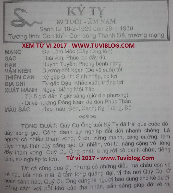 Tu vi 2017 Ky Ty 1929 nam mang