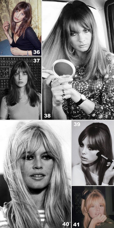 Franjas icônicas: jane Birkin, Brigitte Bardot, Jean Shrimpton.