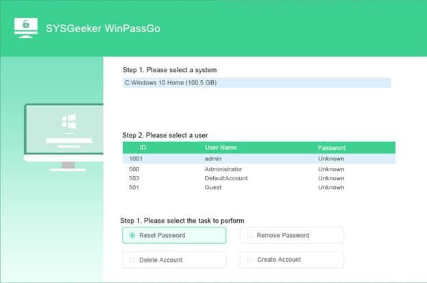 How to reset Windows 10 password using SYSGeeker WinPassGo