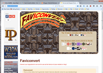 Faviconvert.com website converts a square logo or photo into a favicon.