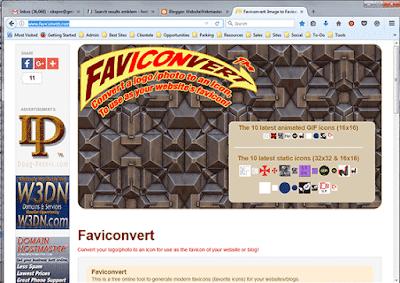 Faviconvert.com website converts a square logo or photo into a favicon.