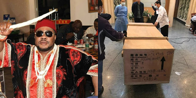 See how the corpse of Eze Ndigbo in China is being packaged back to Nigeria.