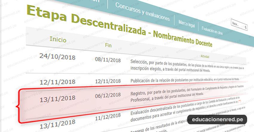 NOMBRAMIENTO DOCENTE 2018: Hoy se inicia Registro de los Postulantes, del Formulario de Cumplimiento de Requisitos y Registro de Trayectoria Profesional, a través del portal institucional del MINEDU - www.minedu.gob.pe