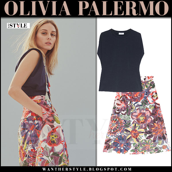Olivia Palermo in navy top and floral print skirt maxandco spring summer 2017 collection