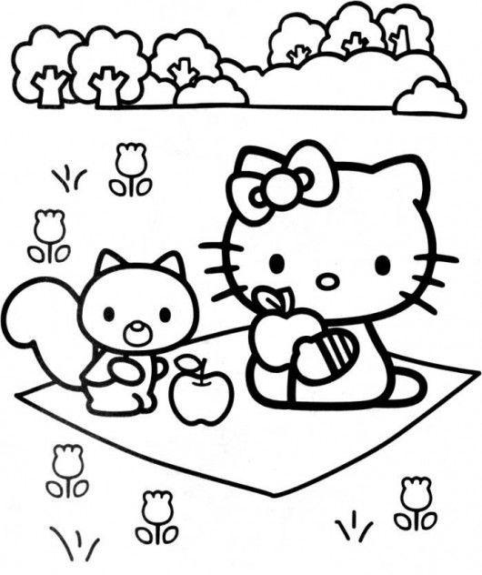 Tranh tô màu mèo hello kitty đi pic nic