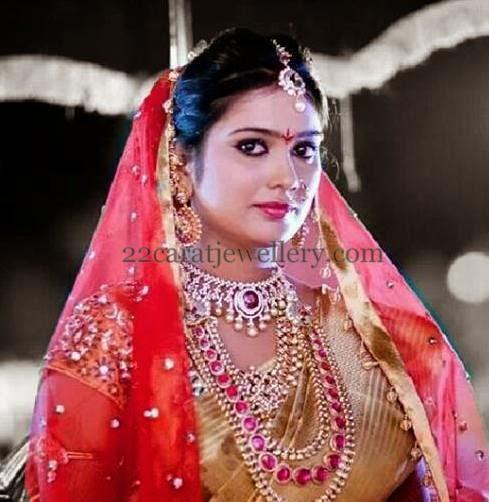 Bride In Ruby Haar Diamond Necklace Jewellery Designs