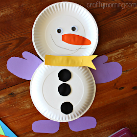 fun paper plate snowman with mittens and buttons craft