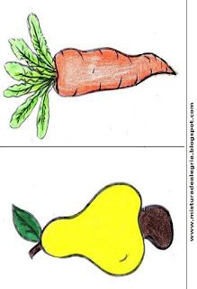 Desenho de cenoura e caju