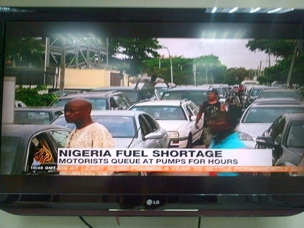 Screenshot: Nigeria's Fuel Scarcity Woes Featured On Al Jazeera