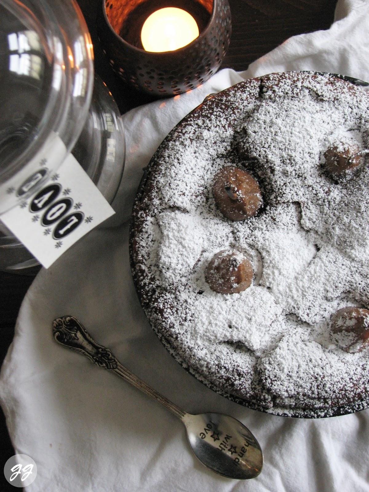 rezept schokoladenkuchen mit versunkenen nougatbirnen gl cksgenuss. Black Bedroom Furniture Sets. Home Design Ideas