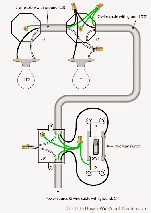 2 Way Light Switch with Power Feed via Switch (two lights) Read more ...