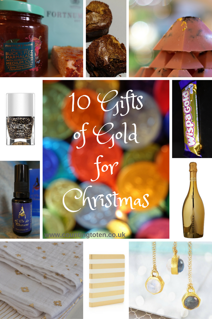 "All images for this post combined into one collage with the text ""Gifts of Gold for Christmas"""