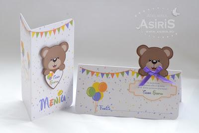 Modele personalizate papetarie botez cu ursuleti Asiris Atelier