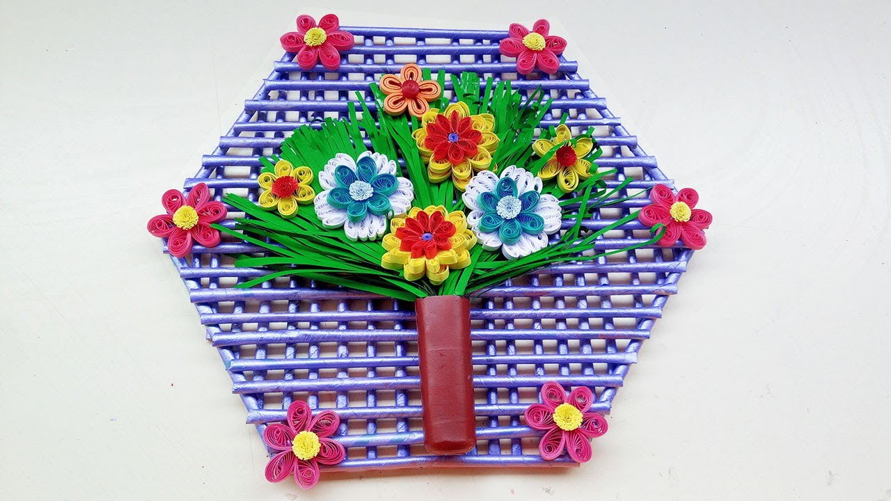 Diy paper quilling wall hanging design for room decoration paper dear quilling designers here you can learn beautiful wall hanger made with news paper and decorated witth quilling flowers mightylinksfo