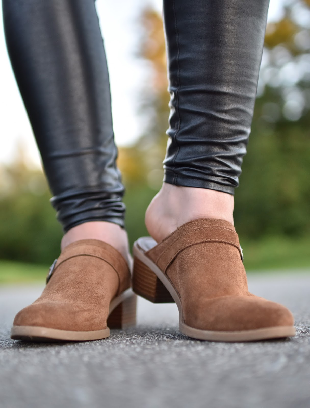 vegan leather leggings, AEO western-style mules