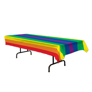 Girl Scout Bridging Ceremony party supplies-rainbow tablecoth