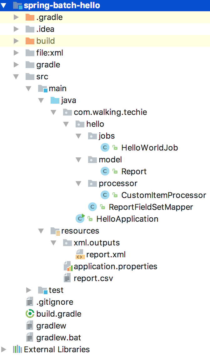 Spring Batch Hello world example using Spring boot - Walking