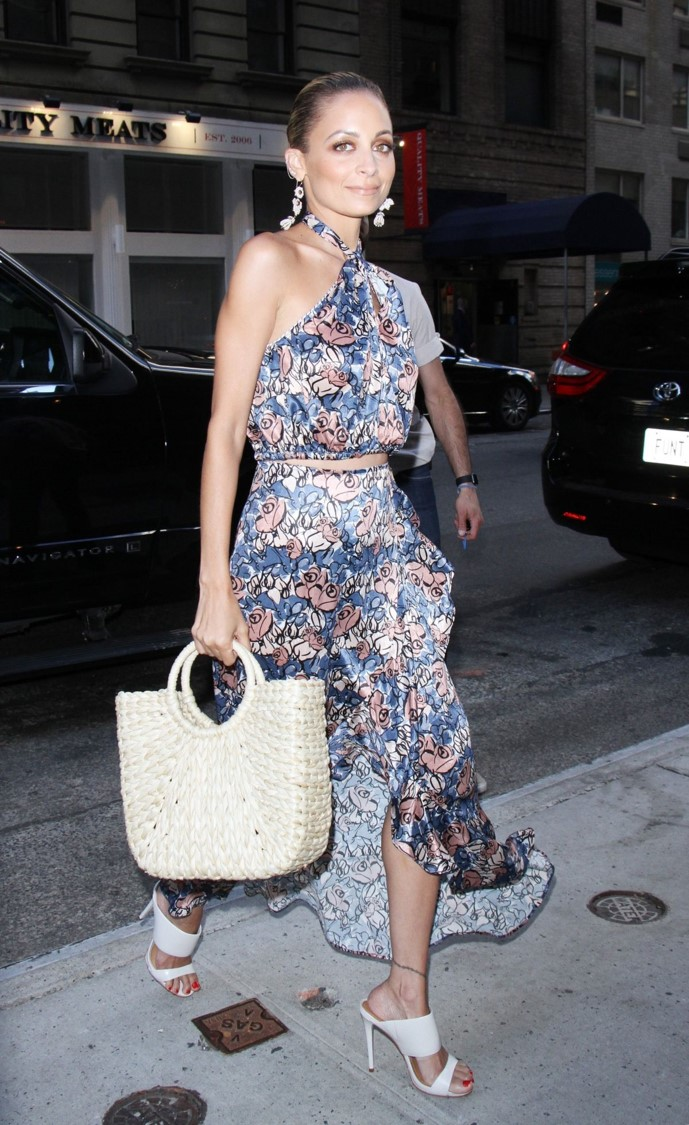 Nicole Richie with Round Handle Tote