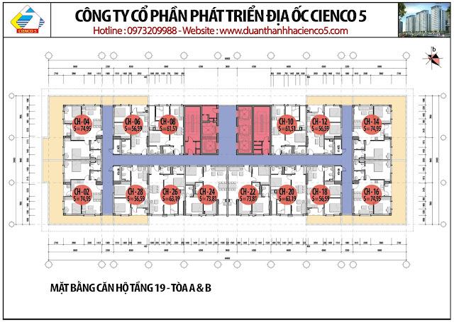 Mặt bằng căn hộ tầng 19 tòa HH02A&B B2.1 Thanh Hà Mường Thanh