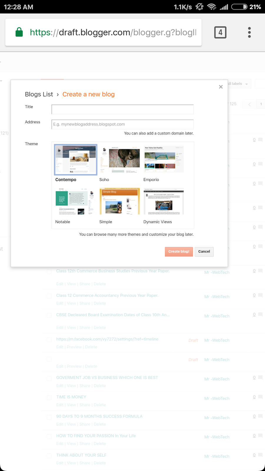 how to create a blogspot website for free
