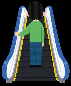 エスカレーターに乗る人のイラスト(中央)