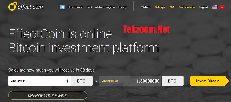 [SCAM] Review EffectCoin - Dự án đầu tư tốt với lãi suất 1% hằng ngày - Chấp nhận Bitcoin