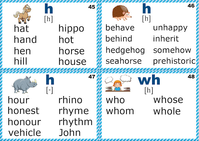 Silent h words, phonics flashcards - letter H sounds