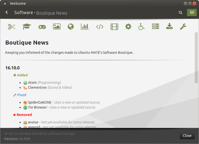 O novo recurso Boutique News do Ubuntu MATE Welcome.