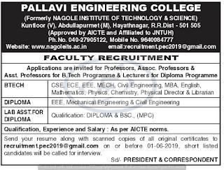 PEC  Assistant professors/Lecturer Jobs in Pallavi Engineering College  2019 Recruitment, Ranga Reddy