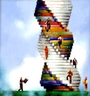 Imagen de libros apilados por el Día Mundial del Libro y del Derecho de Autor