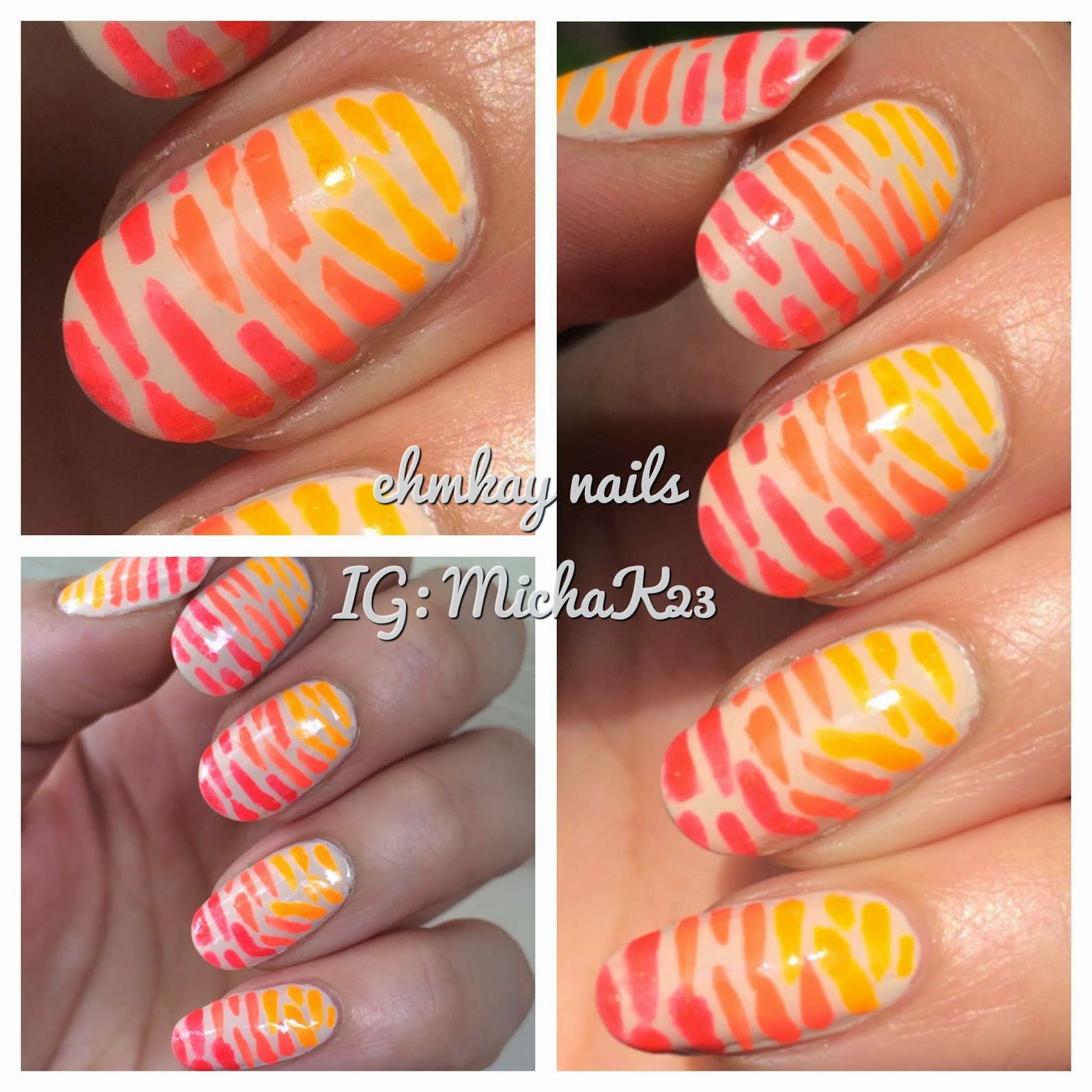 Ehmkay Nails Orange Neon Ombre Stripes With Orly Nail Polish