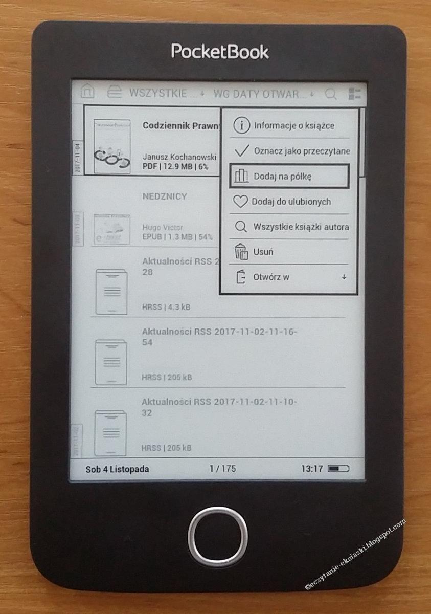 Dodawanie ebooka do kolekcji w PocketBook Basic 3