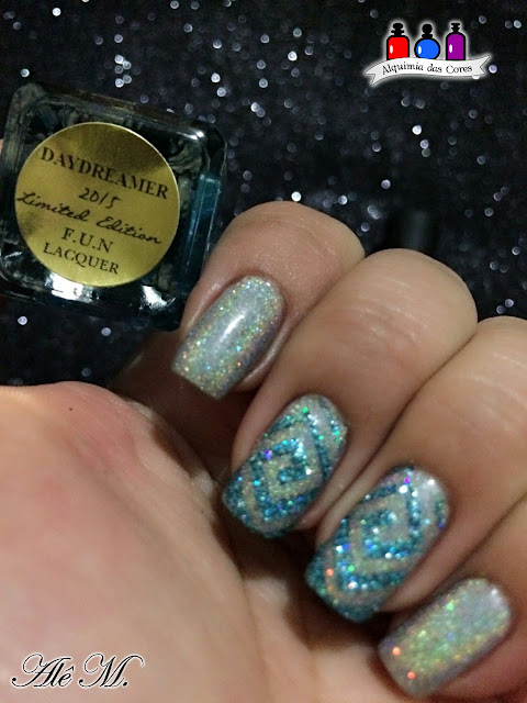 Orly, Mirrorball, FUN Lacquer, Daydreamer, Modern Arts, Nail Stamp, Glitter, Prata, Turquesa