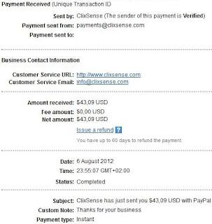 bukti pembayaran clixsense paypal